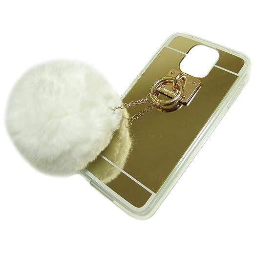 Amazon.com: Moda Piel De Conejo Fluffy Pompón bola llavero ...