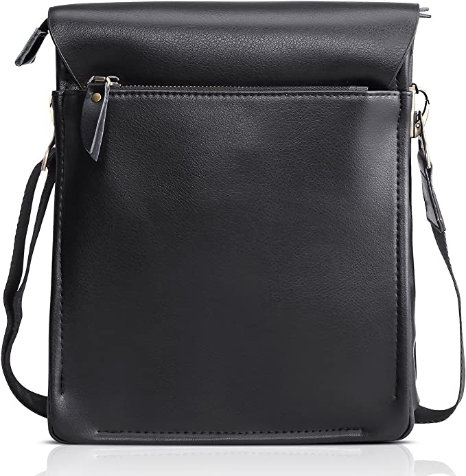 Carriemeow Simple Retro Double Zipper Hit Color Square Leather Shoulder Bag Messenger Bag