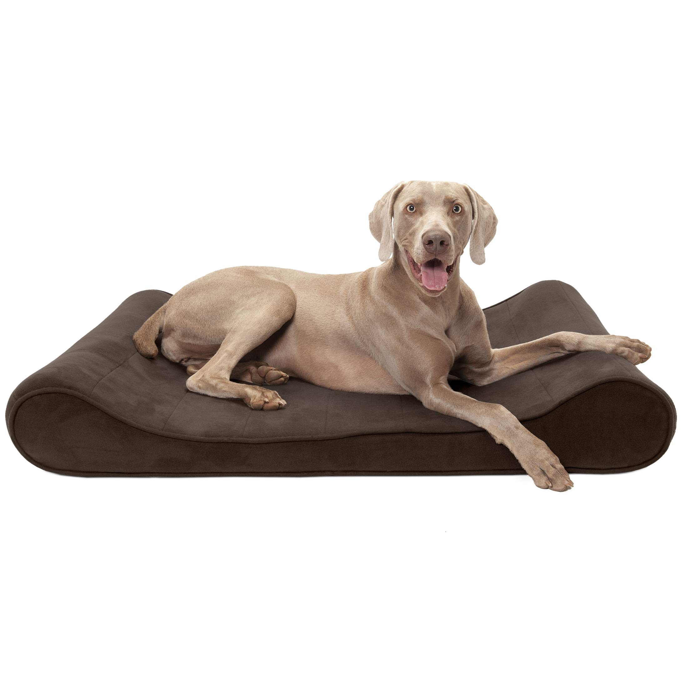 Furhaven Pet Dog Bed | Orthopedic Micro Velvet Ergonomic Luxe Lounger Cradle Mattress Contour Pet Bed w/ Removable Cover for Dogs & Cats, Espresso, Jumbo by Furhaven