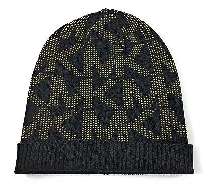 Michael Kors Womens MK Beanie Hat Cap Onesize Black   Camel at ... bc563ce829c