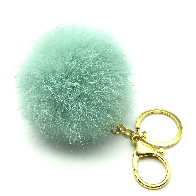 Raylans Fluffy Owls Faux Rabbit Fur Pompom Keychain Pendant Key Ring (Grey) A1001171
