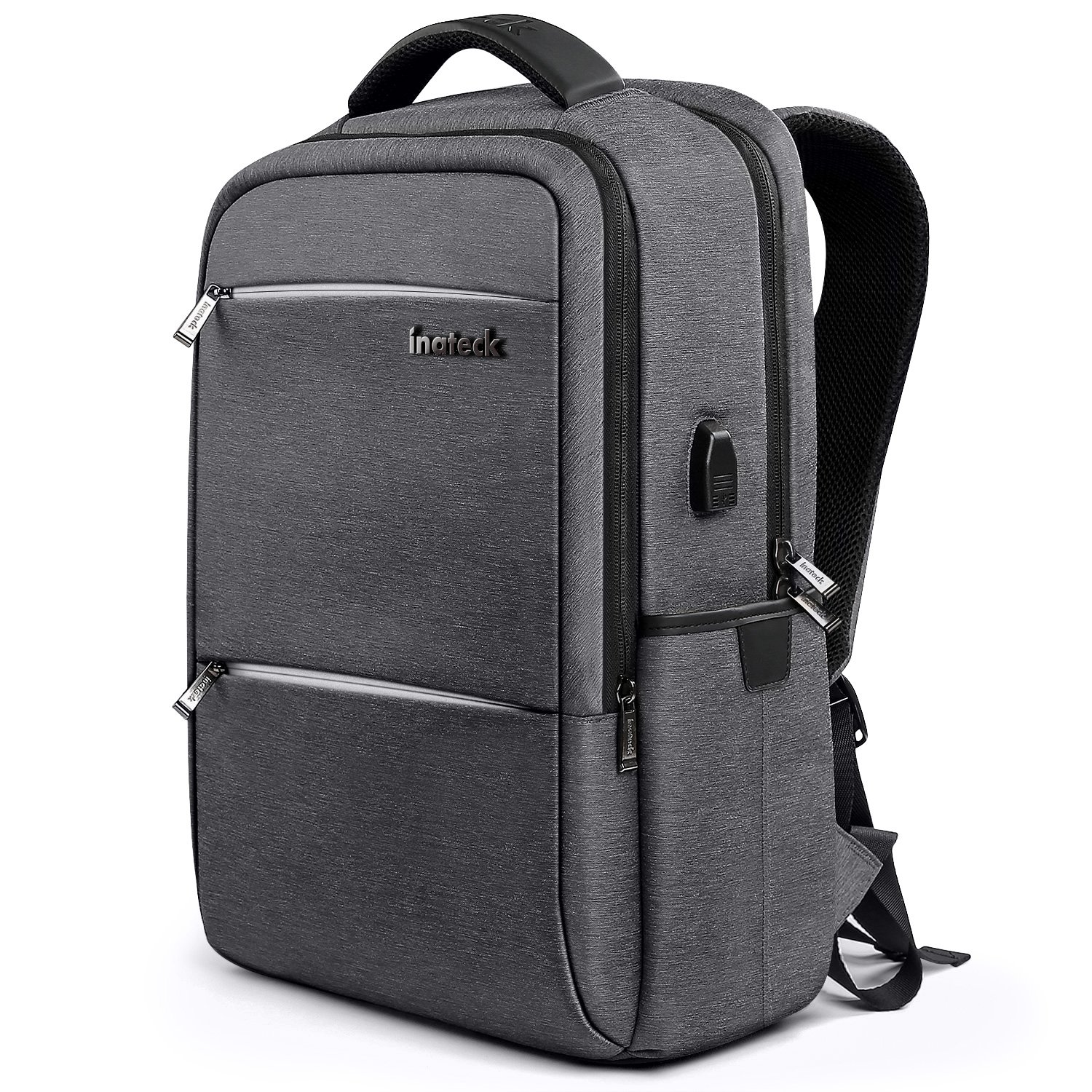 [High-Grade Materials] Inateck 15.6 Inch Anti-Theft School Business Travel Laptop Backpack Rucksack with USB Charging Port/Rain Cover/Luggage Belt, Dark Gray