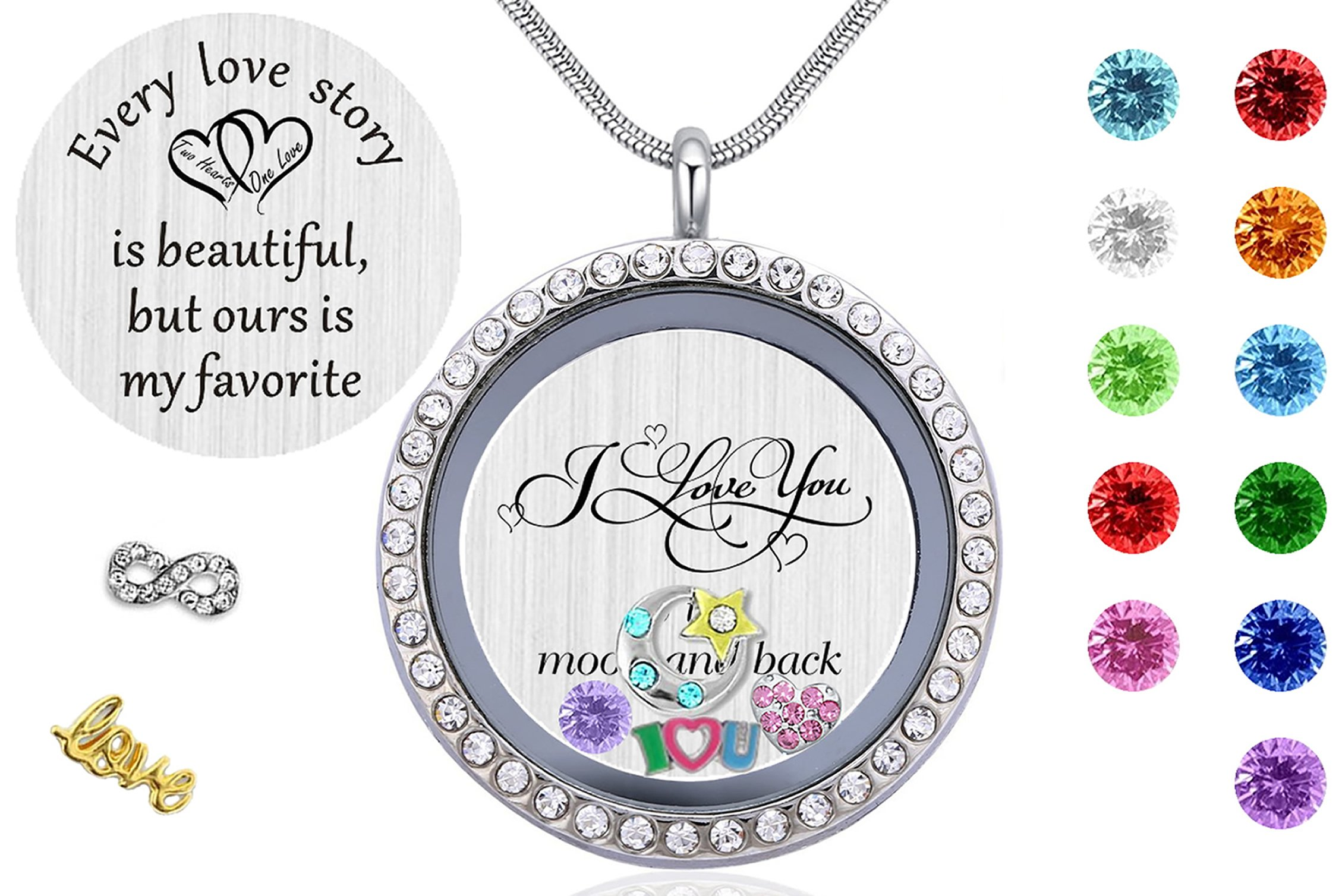 Best Gift for Mom & Grandma, Memory Floating Locket Pendant Necklace with Birthstones & Charms - I Love You To The Moon And Back
