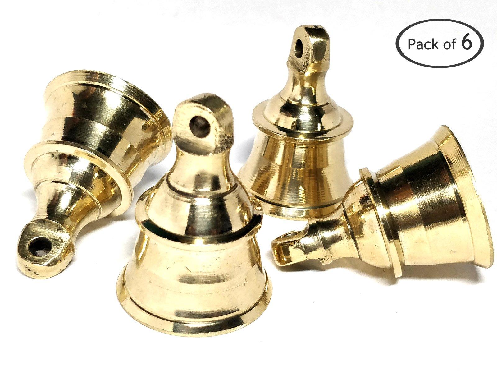 AzKrafts Decorative Indian Brass Bells Heavy Duty Solid Brass 1.6 inch, 2 inch, 2.3 inch and 2.6 inch Bells (1.6 inch, 6 pack)