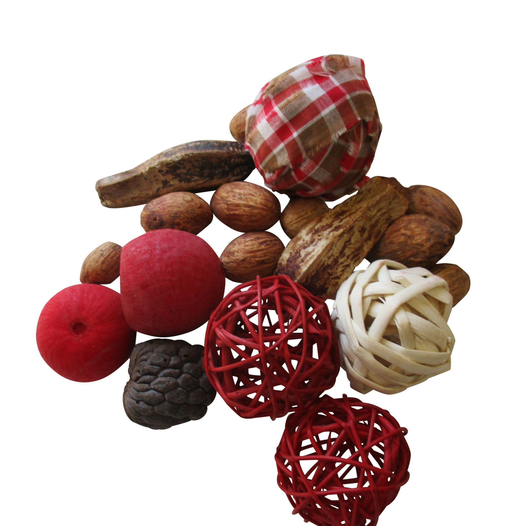 From The Attic Crafts Rag Ball, Twig Balls, Pods, Seeds Bowl Filler Set Red and Tan 11 pieces