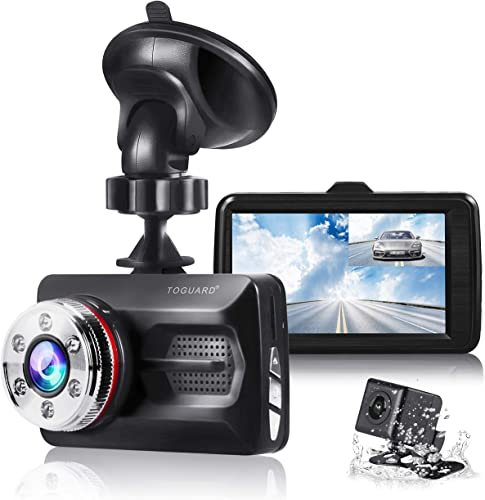 TOGUARD Dual Dash Cam Front and Rear Night Vision 1080P Car Camera and 720P Rear View Backup Camera 170 Wide Angle 3.0 LCD, 24 Hours Parking Monitor