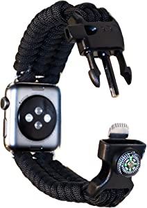 Renegade Outdoors Paracord Watch Band Compatible with Apple 38mm-40mm Apple Watch- Black Paracord Watch Band with Compass, Fire Starter, Whistle and Weatherproof Buckle-7.5