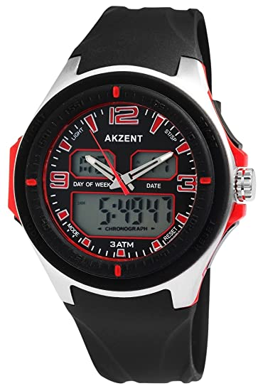 Reloj de Pulsera Akzent Cronómetro Cronógrafo Deportivo de Entrenamiento Gimnasio.: Amazon.es: Relojes