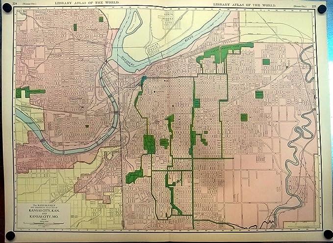 Kansas City Missouri & Kansas 1912 Rand McNally color Map ...