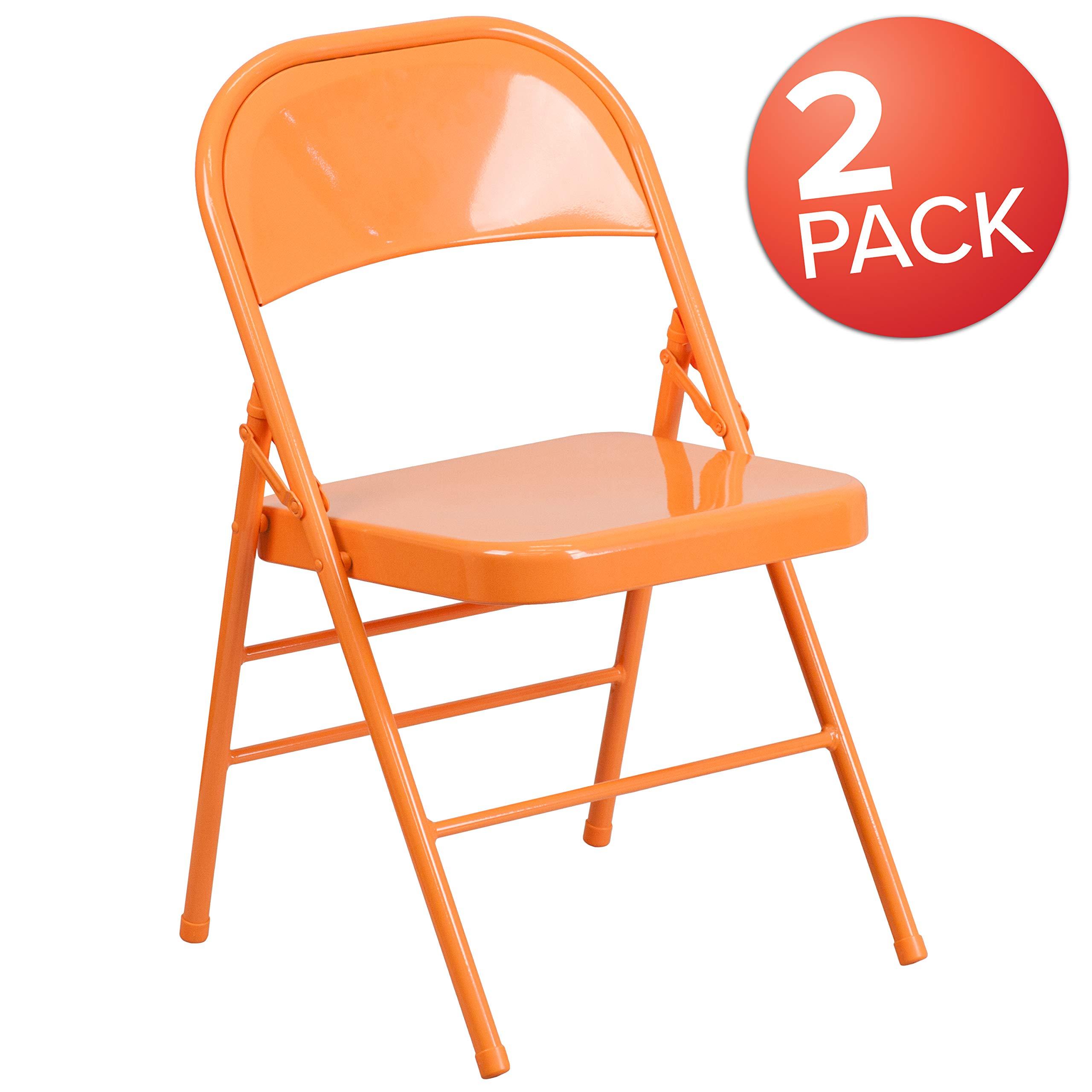 Flash Furniture 2 Pk. HERCULES COLORBURST Series Orange Marmalade Triple Braced & Double Hinged Metal Folding Chair by Flash Furniture
