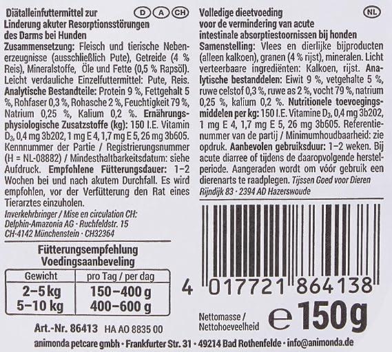 animonda Integra Protect Intestinal para perros, comida dietética para perros, comida húmeda para casos de diarrea o vómitos, puro pavo, 11 x 150 g