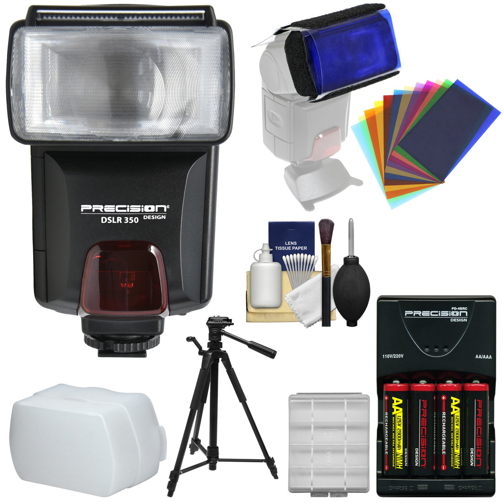 Precision Design DSLR350 High Power Auto Flash with Batteries & Charger + Bounce Diffuser + Color Gel Filters + Tripod + Kit