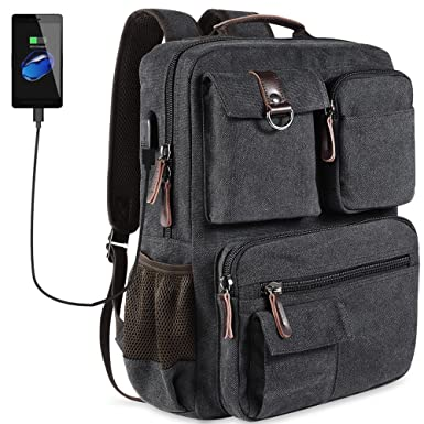 Amazon.com: School Backpack Vintage Canvas Laptop Backpacks Men ...