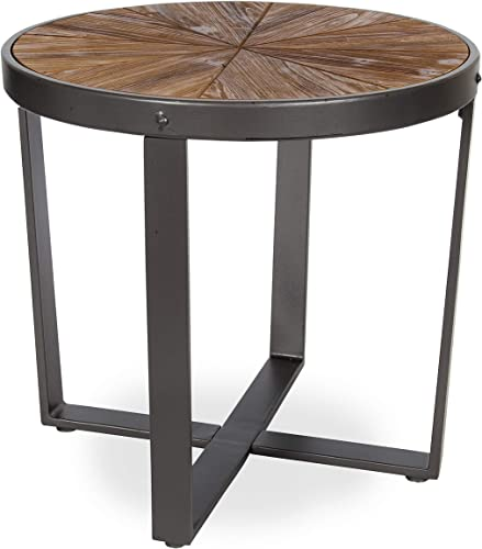 Kate and Laurel Gerhardt Farmhouse Round Wood and Metal Side Table