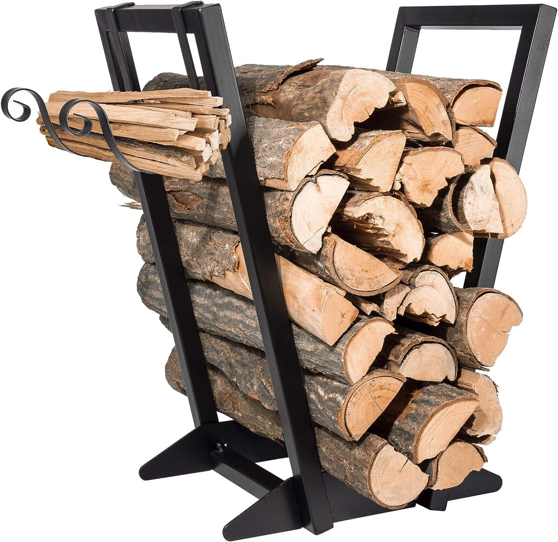 Qiang Ni Firewood Holder丨 Fireplace Firewood Storage Rack with Kindling Holder, Heavy Duty Indoor or Outdoor Log Holder