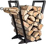 Qiang Ni Firewood Holder丨 Fireplace Firewood Storage Rack with Kindling Holder,