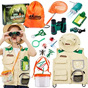 17Pcs Kids Explorer Kit Outdoor Adventure with Costume Cargo Vest and Hat, Binoculars, Flashlight, Butterfly Net Nature Exploration Camping Hiking Toy Birthday Gifts for Kids Boys Girls 3+ Years Old
