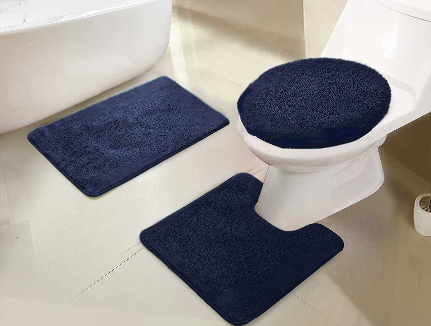 RT Designers Collection Imperial 3-Piece Bath Rug Set, Navy