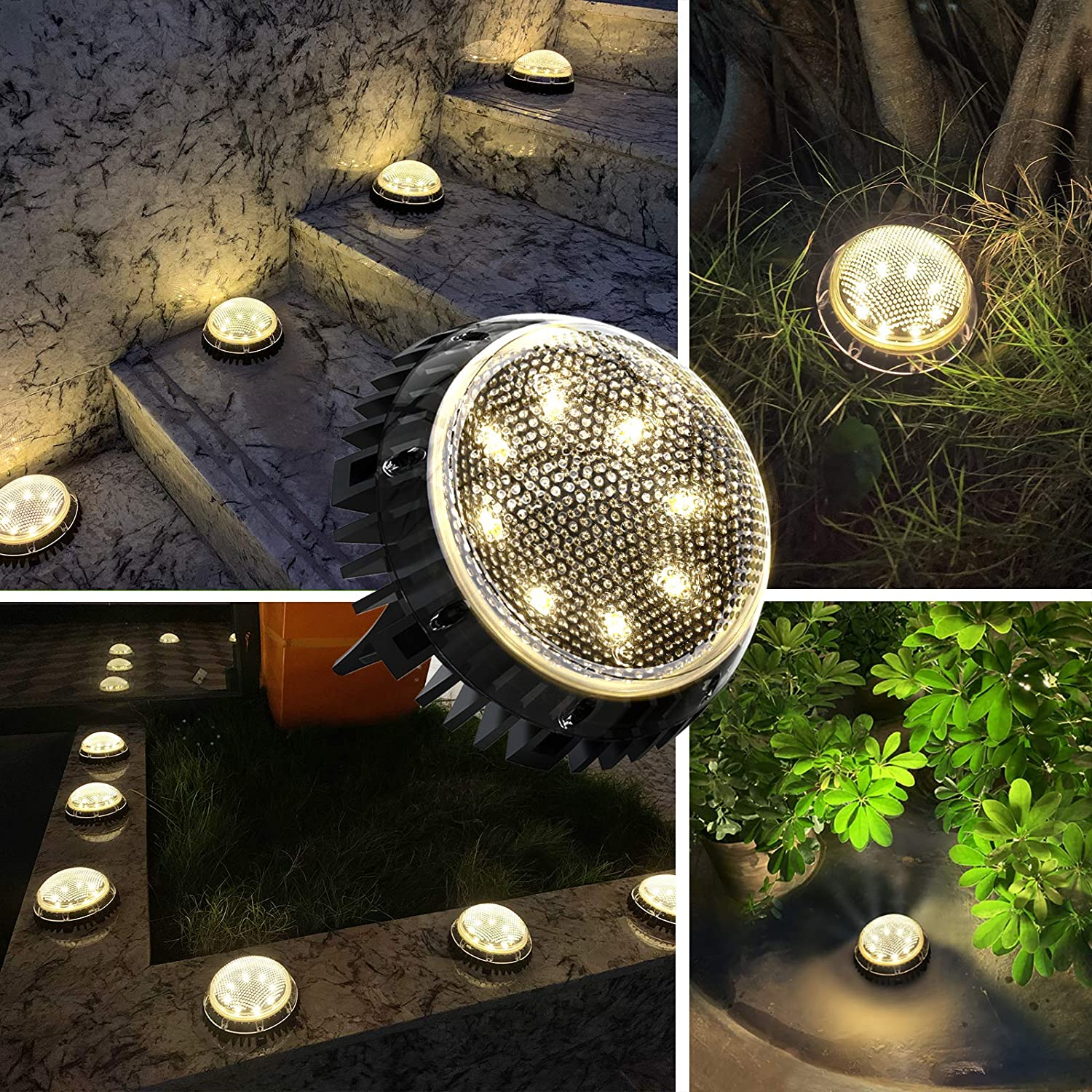 Jack & Rose Solar Ground Lights Outdoor Pathway Lights Fairy Garden Lights Solar Powered IP67 Waterproof 8 LED Disk Light for Yard Deck Lawn Patio Driveway (Warm Light, 4 Pack£