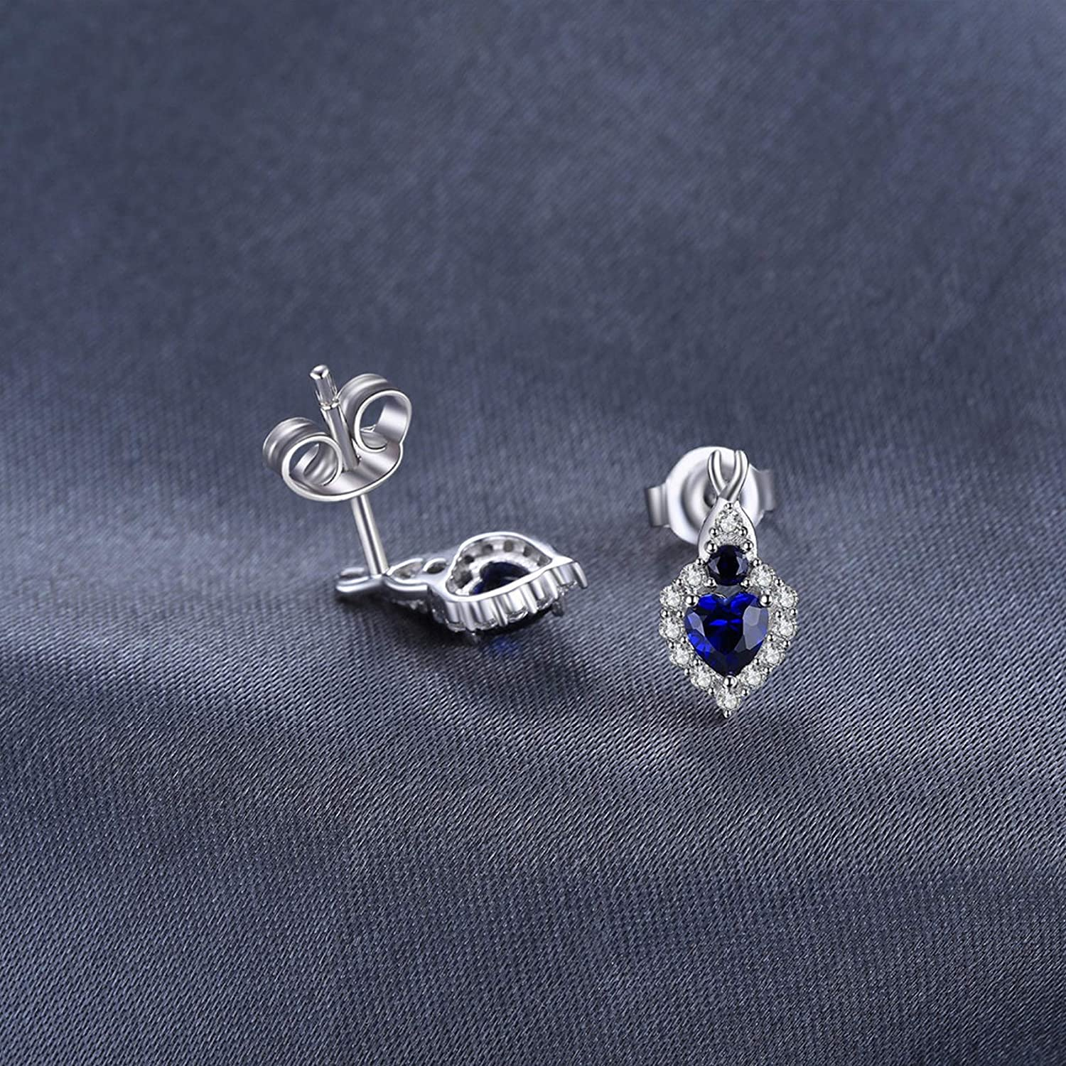 Sterling Silver Jewelry By CS-DB Classical Clear Round Love Heart-Shape Created Blue Sapphire Infinity Stud Earrings