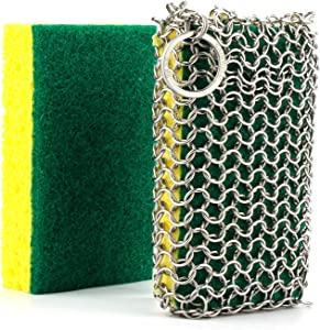 GAINWELL Stainless Steel Chainmail Scrubber Steel Cast Iron Cleaner, Dishwasher Safe, Cleaner Scraper & Scrubber for Your Cast Iron Skillet