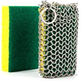 GAINWELL Stainless Steel Grips Cast Iron Cleaner Chainmail Scrubber Glove with 2pcs Heavy Duty Scrub Sponges for Lodge Cast Iron Pans Skillets Pot