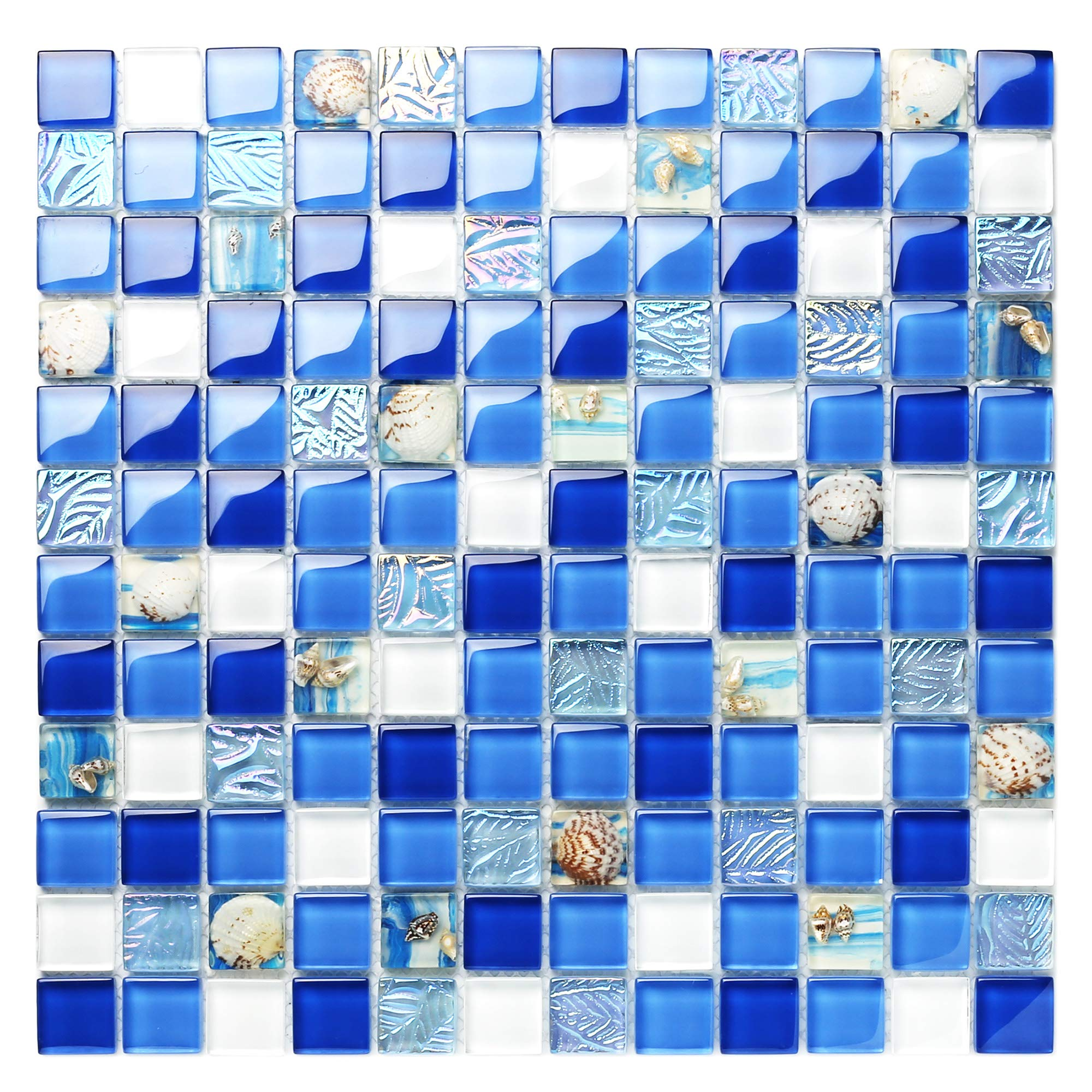 TST Glass Conch Tiles Beach Style Sea Blue White Glass Mosaic Mother of Pearl Resin for Bathroom Shower TSTNB07 (5 Square Feet) by BLUJELLYFISH