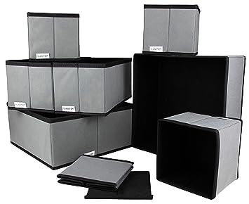 Kamoro 8er Set Aufbewahrungsboxen - Stoffbox Organizer Ordnungssystem  faltbar für Schrank und Schubladen - Stoffkiste für Wäsche, Accessoires,  etc. ...