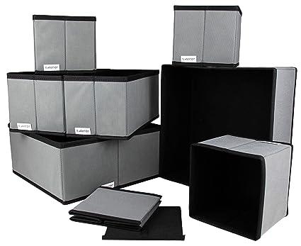 Juego de 8 Cajas de Almacenamiento - Caja organizadora de plástico para armarios y cajones -
