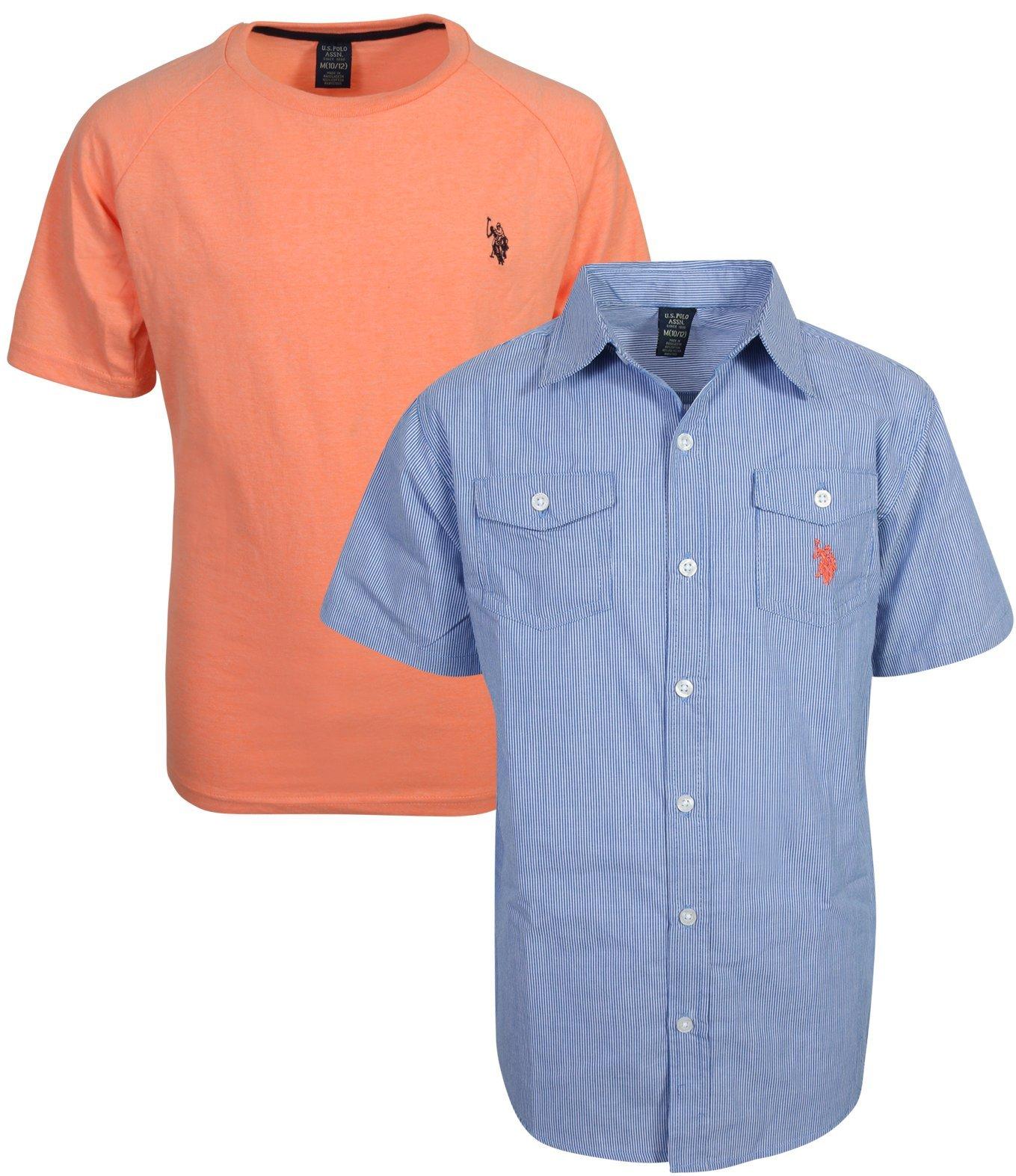 U.S. Polo Assn. Boy's Short Sleeve Button Down Shirt 2 Piece Set, Denim Blue/Coral, Size 7'