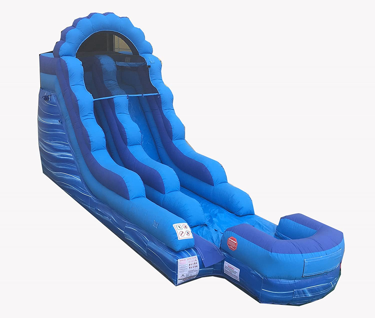 Amazon com tentandtable 15 foot blue marble inflatable water slide wet dry commercial grade 1 5 hp blower stakes included toys games