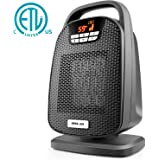 Ceramic Space Heater, Indoor Digital Oscillating Personal Heater with Over-Heat and Tilt Protection, Carrying Handle, 1500/1000 Watt Shut Off and Turn on Timer, Quiet Operation for Home, Office