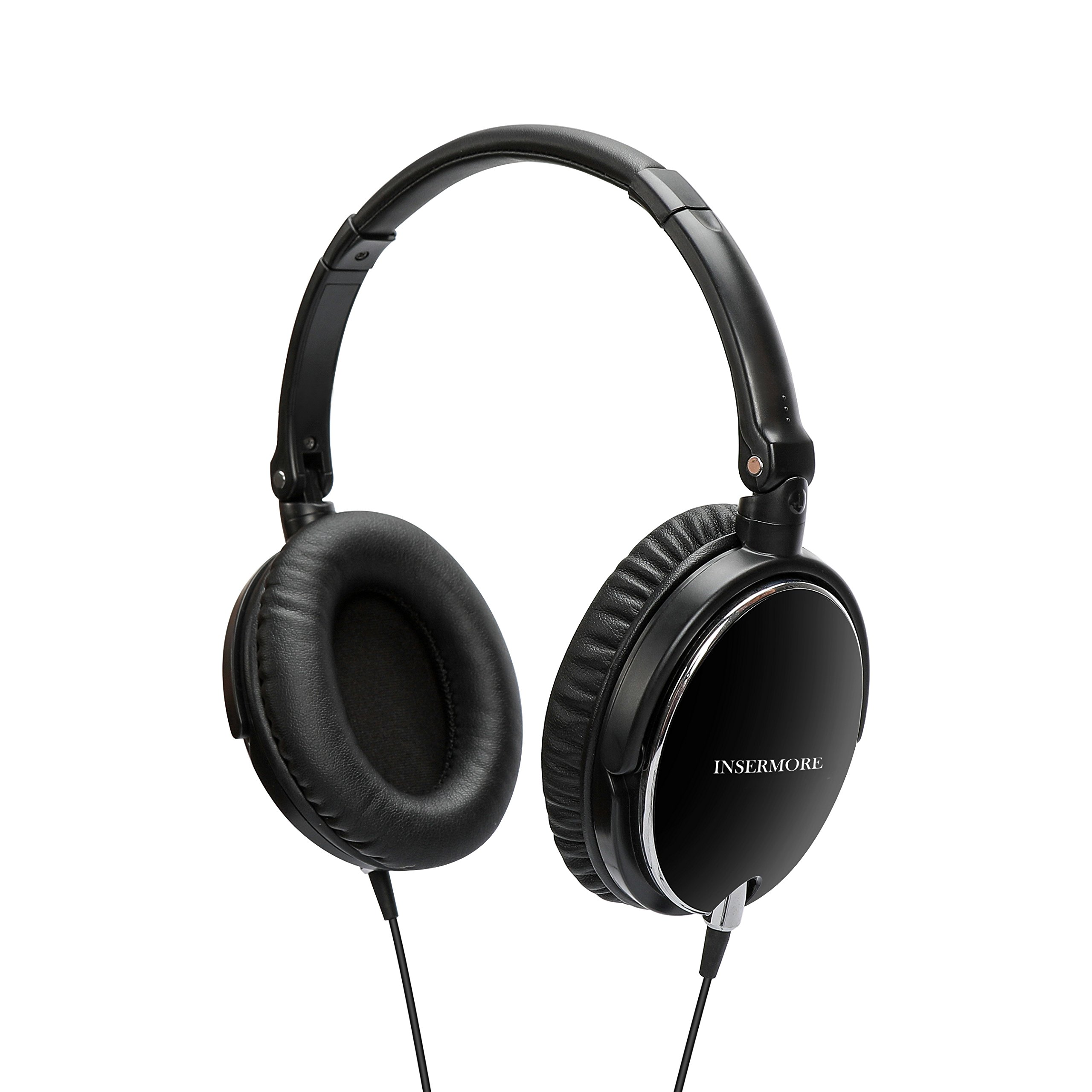 Active Noise Cancelling Headphones, INSERMORE AN01 Hi-fi Stereo over Ear Headsets with Inline Mic, Foldable Travel Earphones for iPhone/Android/PC with free Carry Case-Black