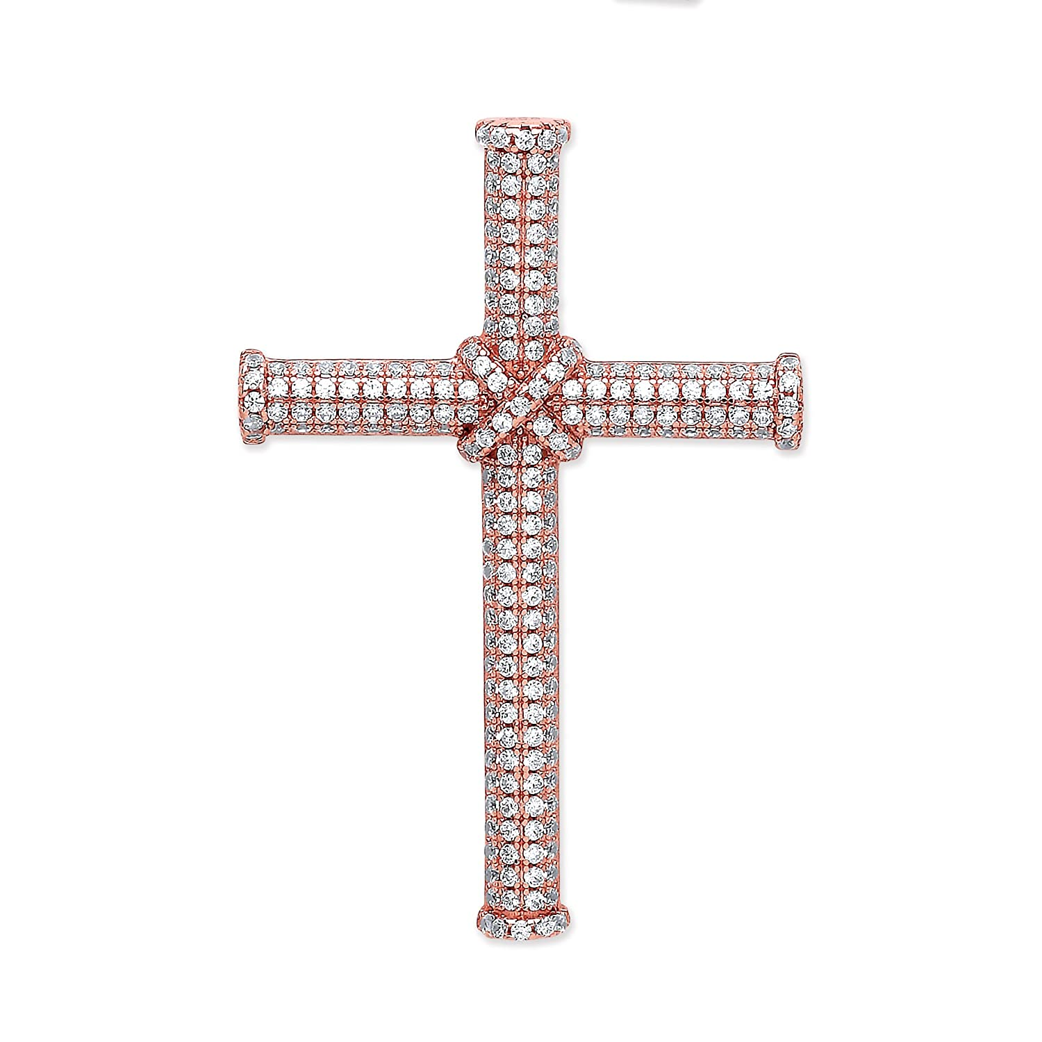 JQS- Rose Gold on 925 Sterling Silver Cz Micro Pave Set Crucifix Cross Pendant 30x25mm: With 18' Curb Chain JQS-SCX0051-18