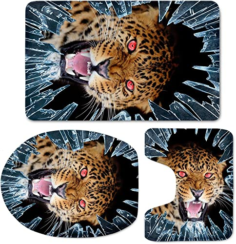 HUGS IDEA Cool Leopard Pattern Bath Rug Set Soft Non Slip Bathroom Rugs Contour Mat with Toilet Lid Cover 3 Piece