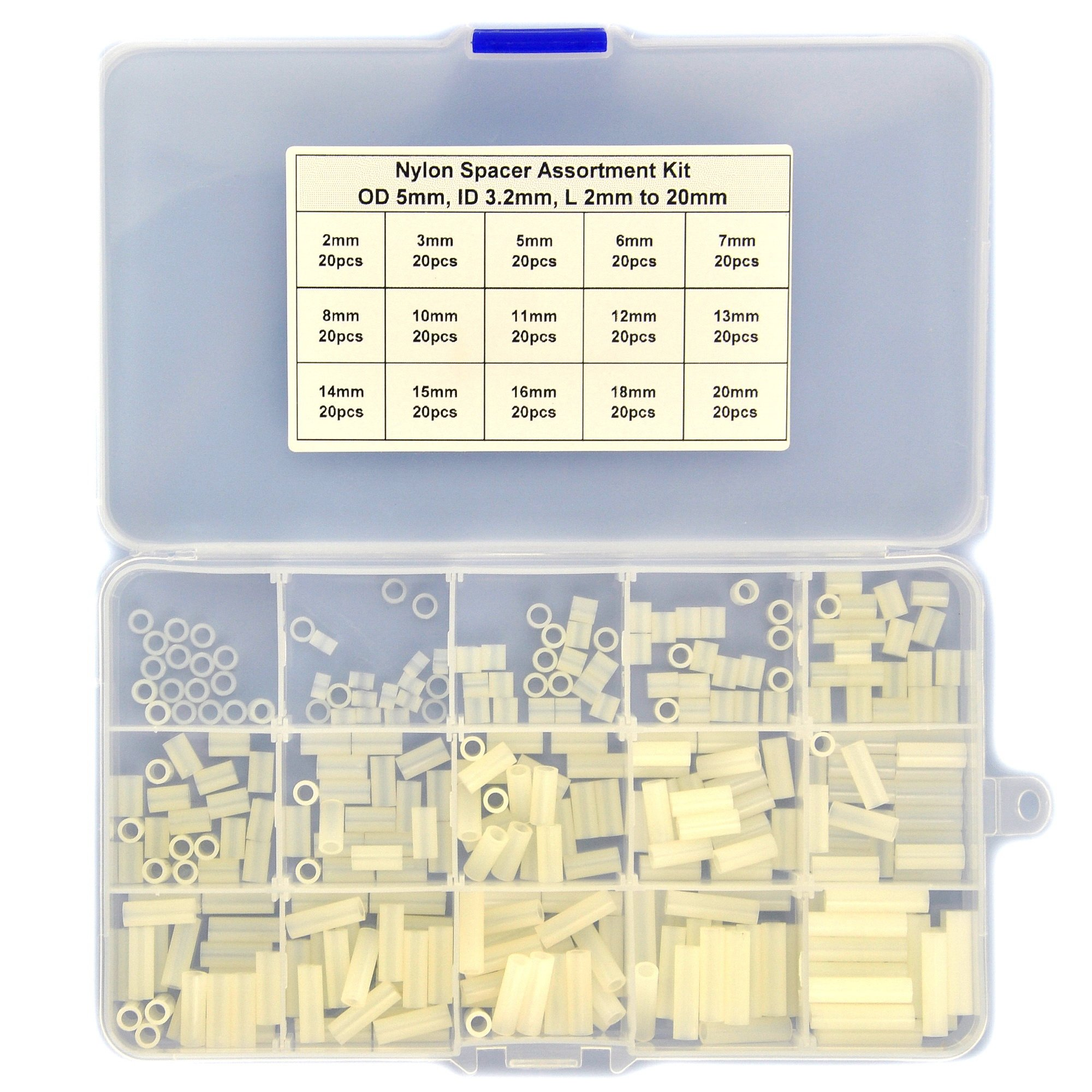 Electronics-Salon Nylon Round Spacer Assortment Kit. OD 5mm, ID 3.2mm, L 2 to 20mm, for M3 Screws. Length 2mm 3mm 5mm 6mm 7mm 8mm 10mm 11mm 12mm 13mm 14mm 15mm 16mm 18mm 20mm, Plastic PA66 Standoff. by Electronics-Salon