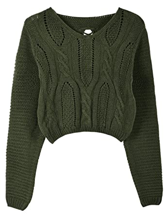 df33b06205 PrettyGuide Women s Long Sleeve Eyelet Cable Lace Up Crop Top ArmyGreen L