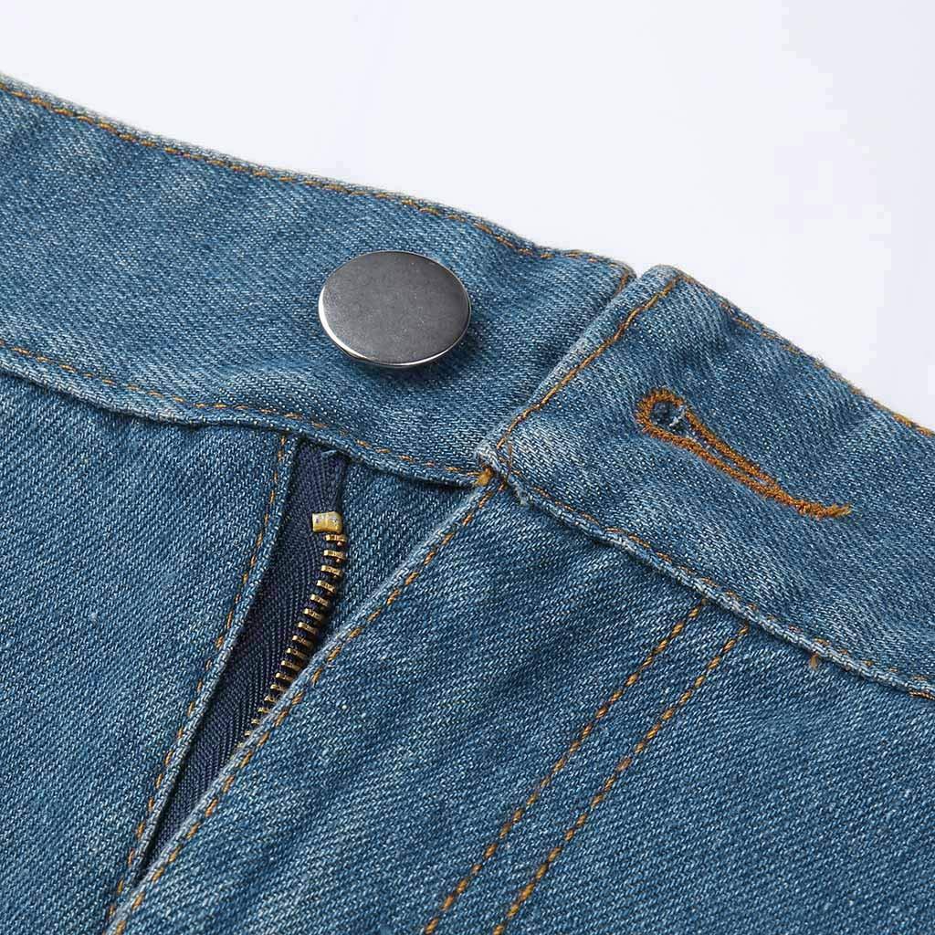Pervobs Women Fashion Modern Denim Skirt Button Zipper Fly Open Boot Cut Mini Skirt Shorts with Pockets(2XL, Blue) by Pervobs Women Pants (Image #7)