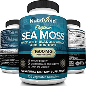 Nutrivein Organic Sea Moss 1600mg Plus Bladderwrack & Burdock - 120 Capsules - Prebiotic Super Food Boosts The Immune System & Digestive Health - Thyroid, Healthy Skin, Keto Detox, Gut, Joint Support