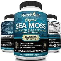Nutrivein Organic Sea Moss 1600mg Plus Bladderwrack & Burdock - 120 Capsules - Prebiotic...
