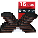 """PREMIUM NON SLIP Furniture Pads 16 piece 2"""". Best SelfAdhesive Furniture Grippers – Furniture Stoppers with Rubber Pad – Ideal as Floor Protectors & Couch Stoppers for Keep in Place Furniture"""