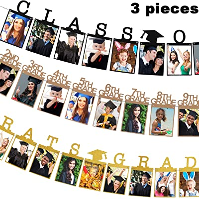 3 Pieces 2020 Graduation Photo Banner Party Decoration Supplies , Gold Black Congrats Grad Banner Class of 2020 Photo Banner and 12 Grade Photo Banner for Graduation Party Decorations, 3 Style: Toys & Games