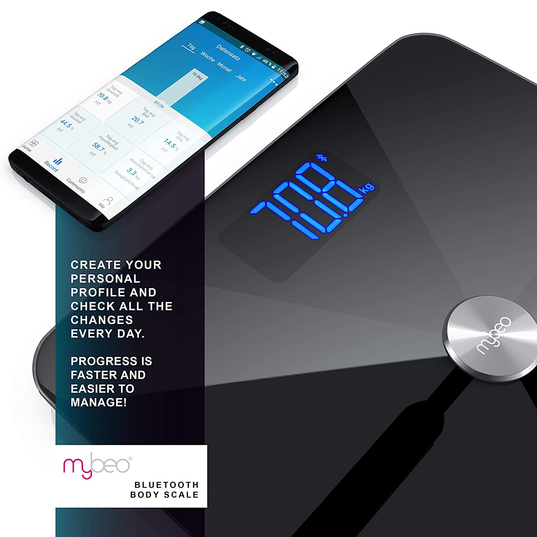 Mybeo - Bluetooth Bascula Grasa Corporal + App | iOS y Android | Determinación del IMC índice de masa corporal grasa corporal porcentaje de agua porcentaje ...
