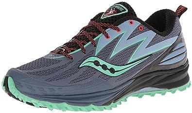 Saucony Women's Peregrine 5 Trail Running Shoe,Grey/Mint/Purple,6 M