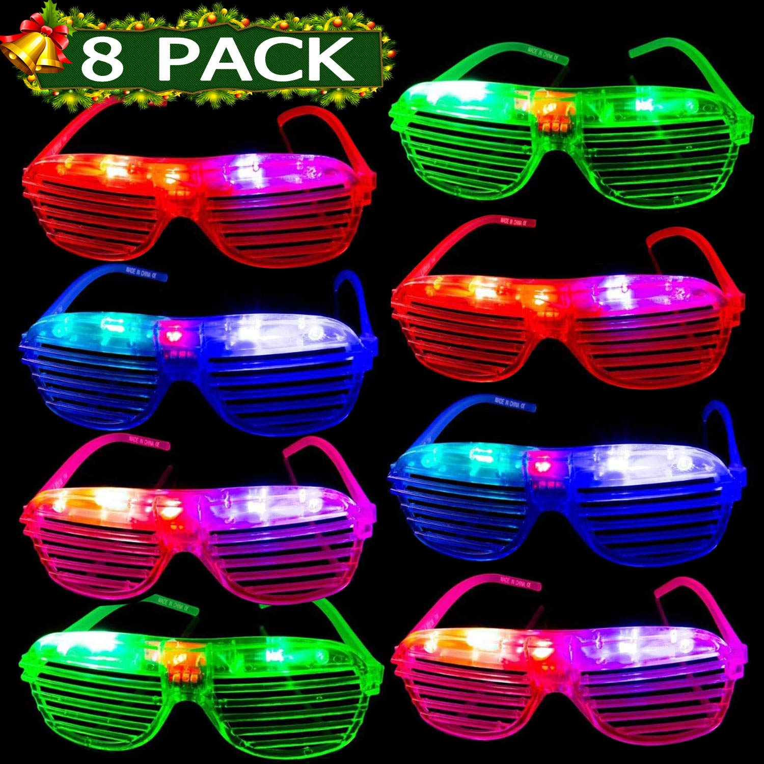 MAXSASI 2019 New Year Eve Party Supplies 8 Pack Glow Party Glasses Pack for Kids Adults Light Up Glasses Slotted Shades LED Rave Glasses Glow in The Dark Party Favors Birthday Holiday Ideal Gifts