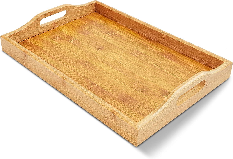 40,6 x 27,9 x 5,8 cm Juvale Wood colore: Marrone Vassoio da portata con doppio manico