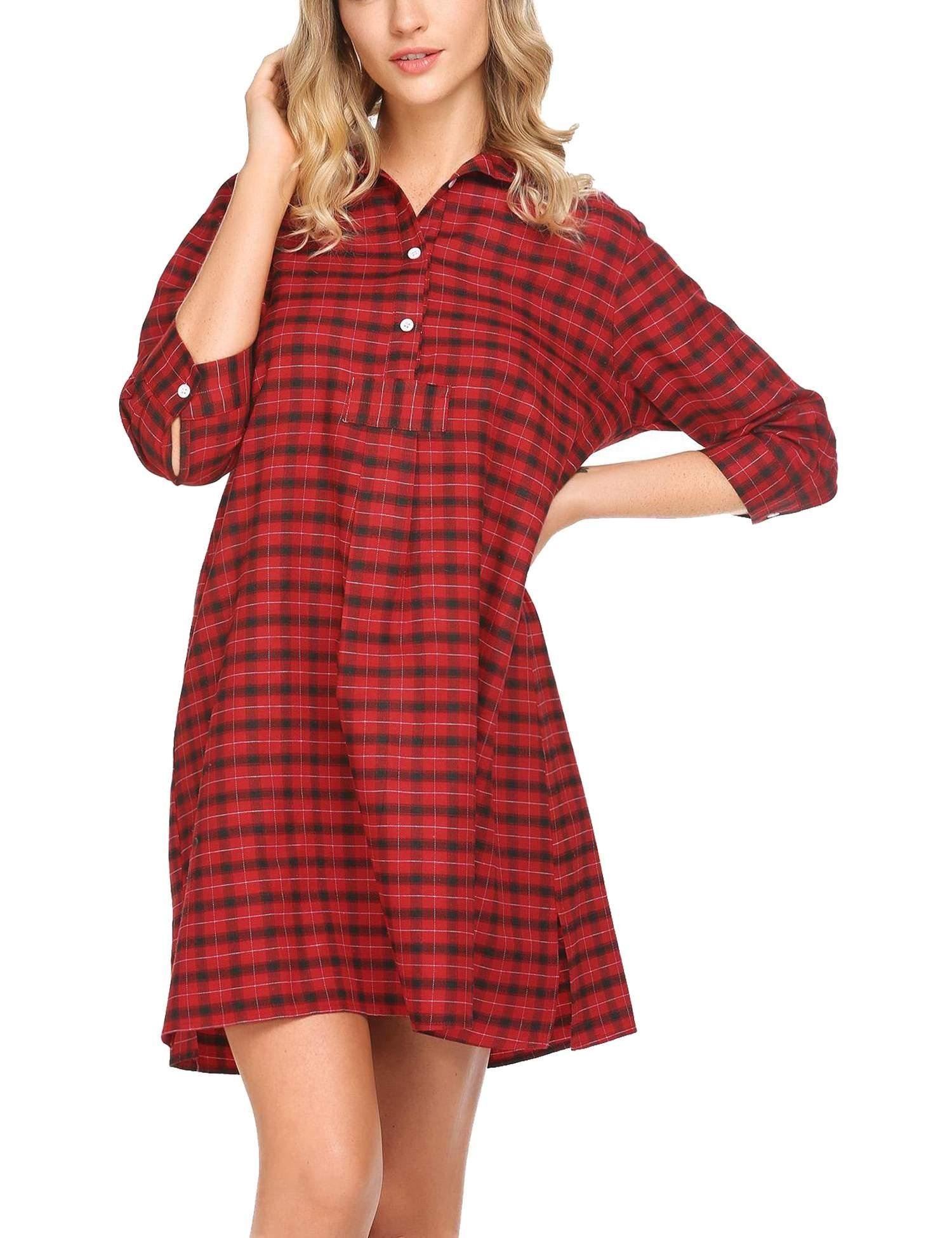 Baguet Women Casual Stand Collar 3/4 Sleeve Plaid Button Split Hem Sleepwear Nightshirt Dress Loose Style