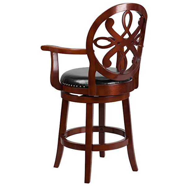 Flash Furniture 26 High Cherry Wood Counter Height Stool with Arms and Black Leather Swivel Seat