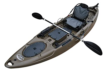 BKC UH-RA220 11 5 Foot Riptide Angler Sit On Top Fishing Kayak with Paddles  and Upright Chair and Rudder System Included