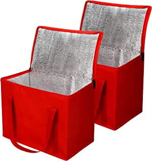 2 Pack Insulated Reusable Grocery Bag with Zippered Top, XL Large, Frozen Foods Cold, Cooler Shopping Red